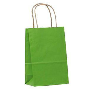 "Apple Green, Small Shadow Stripe Paper Shopping Bags, 5-1/2"" x 3-1/4"" x 8-3/8"" (Gem)"