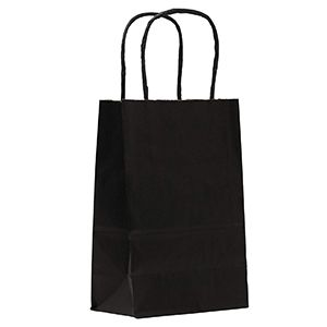 """India Ink, Small Shadow Stripe Paper Shopping Bags, 5-1/2"""" x 3-1/4"""" x 8-3/8"""" (Gem)"""