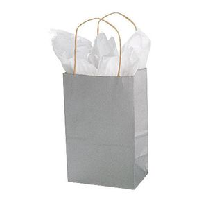 "Silver, Small Recycled Paper Shopping Bags, 5-1/2"" x 3-1/4"" x 8-3/8"" (Gem)"