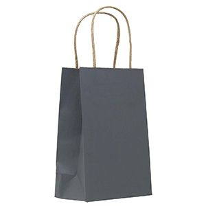 """Charcoal, Small Paper Shopping Bags, 5-1/2"""" x 3-1/4"""" x 8-3/8"""" (Gem)"""