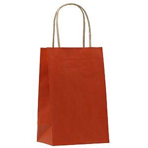 "Terra Cotta, Small Shadow Stripe Paper Shopping Bags, 5-1/2"" x 3-1/4"" x 8-3/8"" (Gem)"