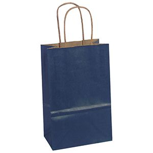 """Navy, Small Recycled Paper Shopping Bags, 5-1/2"""" x 3-1/4"""" x 8-3/8"""" (Gem)"""