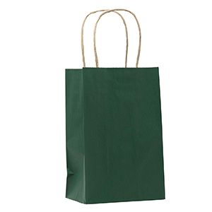 """Forest Green, Small Shadow Stripe Paper Shopping Bags, 5-1/2"""" x 3-1/4"""" x 8-3/8"""" (Gem)"""