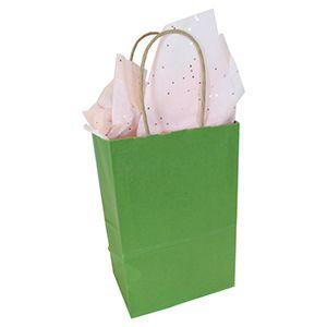 """Rainforest Green, Small Paper Shopping Bags, 5-1/2"""" x 3-1/4"""" x 8-3/8"""" (Gem)"""