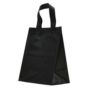 """Black Frosted Shoppers with Loop Handles, 8"""" x 5"""" x 10"""" x 5"""""""