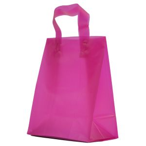 """Hot Pink Frosted Shoppers with Loop Handles, 8"""" x 5"""" x 10"""" x 5"""""""