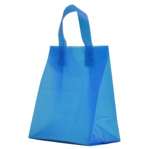 """Ocean Blue Frosted Shoppers with Loop Handles, 8"""" x 5"""" x 10"""" x 5"""""""