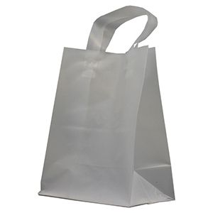 """Clear Frosted Shoppers with Loop Handles, 8"""" x 5"""" x 10"""" x 5"""""""