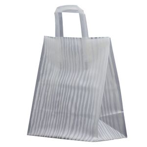 """White Bamboo, Pattern Frosted Shoppers with Handles, 8"""" x 5"""" x 10"""" x 5"""""""