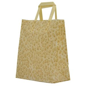 """Leopard, Pattern Frosted Shoppers with Handles, 8"""" x 5"""" x 10"""" x 5"""""""