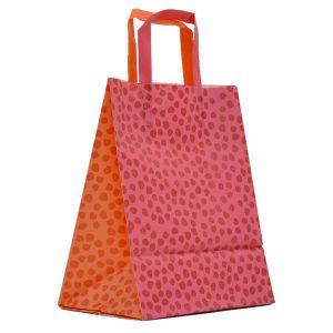 """Orange & Pink Mosaic, Pattern Frosted Shoppers with Handles, 8"""" x 5"""" x 10"""" x 5"""""""