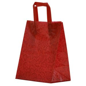 """Red Paisley, Pattern Frosted Shoppers with Handles, 8"""" x 5"""" x 10"""" x 5"""""""