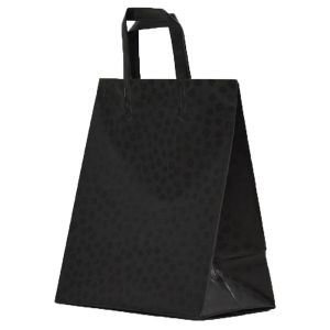 """Black Mosaic, Pattern Frosted Shoppers with Handles, 8"""" x 5"""" x 10"""" x 5"""""""