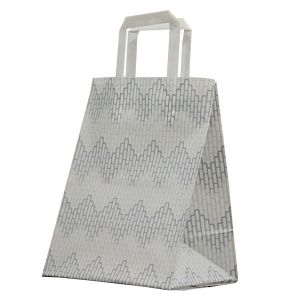 """Chevron, Pattern Frosted Shoppers with Handles, 8"""" x 5"""" x 10"""" x 5"""""""