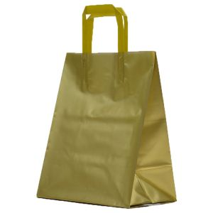 Gold, Medium Precious Metal Shoppers with Handles