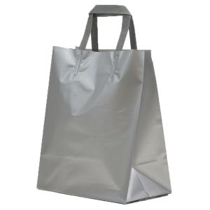 Silver, Medium Precious Metal Shoppers with Handles
