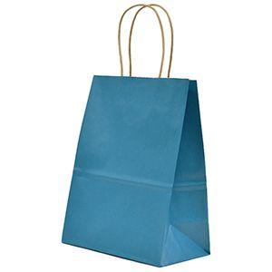 "Peacock Blue, Medium Recycled Paper Shopping Bags, 8"" x 4-3/4"" x 10-1/2"" (Cub)"