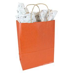 "Burnt Orange, Medium Recycled Paper Shopping Bags, 8"" x 4-3/4"" x 10-1/2"" (Cub)"