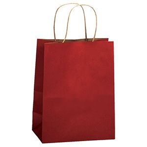 "Scarlet, Medium Recycled Paper Shopping Bags, 8"" x 4-3/4"" x 10-1/2"" (Cub)"