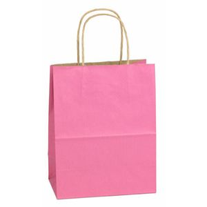 "Pink, Medium Shadow Stripe Paper Shopping Bags, 8"" x 4-3/4"" x 10-1/2"" (Cub)"
