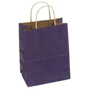 "Purple, Medium Recycled Paper Shopping Bags, 8"" x 4-3/4"" x 10-1/2"" (Cub)"