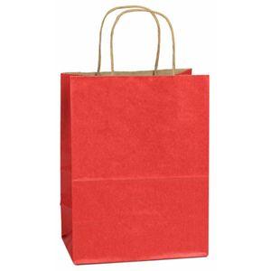 "Red, Medium Shadow Stripe Paper Shopping Bags, 8"" x 4-3/4"" x 10-1/2"" (Cub)"