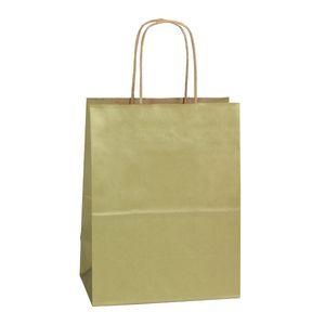 "Gold, Medium Recycled Paper Shopping Bags, 8"" x 4-3/4"" x 10-1/2"" (Cub)"