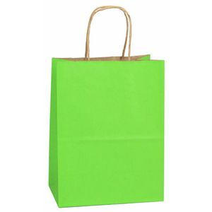 "Apple Green, Medium Shadow Stripe Paper Shopping Bags, 8"" x 4-3/4"" x 10-1/2"" (Cub)"