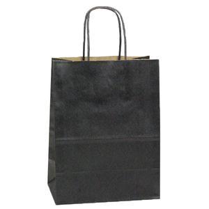 """Black, Medium Shadow Stripe Paper Shopping Bags, 8"""" x 4-3/4"""" x 10-1/2"""" (Cub)"""