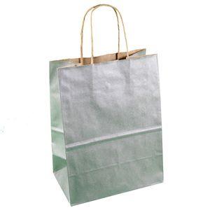 "Silver, Medium Recycled Paper Shopping Bags, 8"" x 4-3/4"" x 10-1/2"" (Cub)"