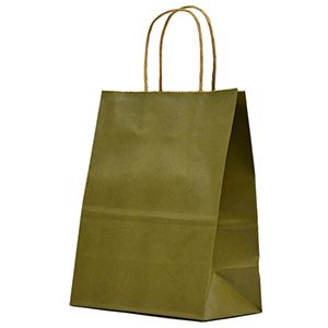 """Olive, Medium Recycled Paper Shopping Bags, 8"""" x 4-3/4"""" x 10-1/2"""" (Cub)"""