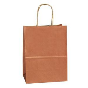 "Copper, Medium Recycled Paper Shopping Bags, 8"" x 4-3/4"" x 10-1/2"" (Cub)"