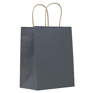 "Charcoal, Medium Recycled Paper Shopping Bags, 8"" x 4-3/4"" x 10-1/2"" (Cub)"