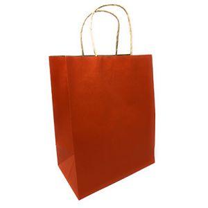 "Terra Cotta, Medium Recycled Paper Shopping Bags, 8"" x 4-3/4"" x 10-1/2"" (Cub)"