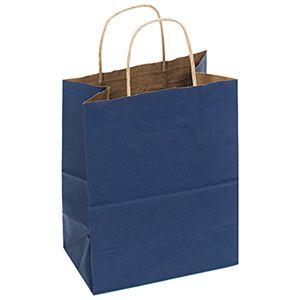 """Navy, Medium Recycled Paper Shopping Bags, 8"""" x 4-3/4"""" x 10-1/2"""" (Cub)"""