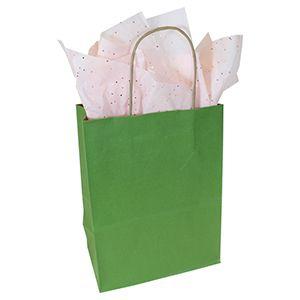"Rainforest Green, Medium Recycled Paper Shopping Bags, 8"" x 4-3/4"" x 10-1/2"" (Cub)"