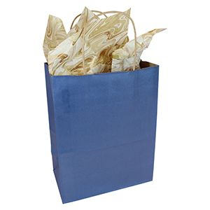 "Metallic Blue, Medium Recycled Paper Shopping Bags, 8"" x 4-3/4"" x 10-1/2"" (Cub)"