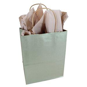 "Metallic Sage, Medium Recycled Paper Shopping Bags, 8"" x 4-3/4"" x 10-1/2"" (Cub)"