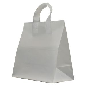 """Clear Frosted Shoppers with Loop Handles, 13"""" x 7"""" x 13"""" x 7"""""""