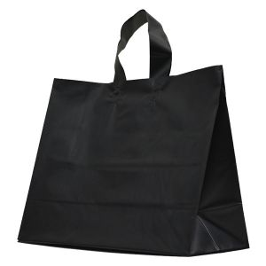 """Black Frosted Shoppers with Loop Handles, 16"""" x 6"""" x 12"""" x 6"""""""