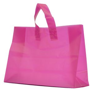 """Hot Pink Frosted Shoppers with Loop Handles, 16"""" x 6"""" x 12"""" x 6"""""""