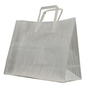 """White Bamboo, Pattern Frosted Shoppers with Handles, 16"""" x 6"""" x 12"""" x 6"""""""