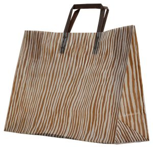 """Brown Bamboo, Pattern Frosted Shoppers with Handles, 16"""" x 6"""" x 12"""" x 6"""""""
