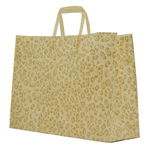 """Leopard, Pattern Frosted Shoppers with Handles, 16"""" x 6"""" x 12"""" x 6"""""""
