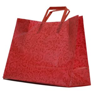 """Red Paisley, Pattern Frosted Shoppers with Handles, 16"""" x 6"""" x 12"""" x 6"""""""