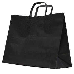 """Black Mosaic, Pattern Frosted Shoppers with Handles, 16"""" x 6"""" x 12"""" x 6"""""""