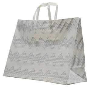"""Chevron, Pattern Frosted Shoppers with Handles, 16"""" x 6"""" x 12"""" x 6"""""""