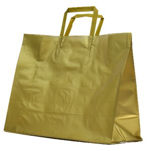 Gold, Large Precious Metal Shoppers with Handles