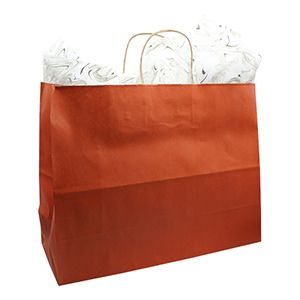 """Burnt Orange, Large Recycled Paper Shopping Bags, 16"""" x 6"""" x 13"""" (Vogue)"""