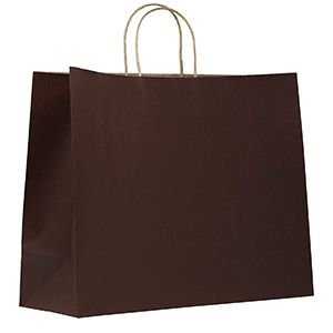 """Chocolate, Large Shadow Stripe Paper Shopping Bags, 16"""" x 6"""" x 13"""" (Vogue)"""